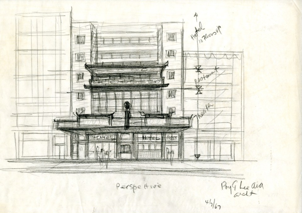 Poy Gum Lee, Perspective Drawing of Theater, 1967, Pencil on paper, Courtesy of the Poy Gum Lee Archive