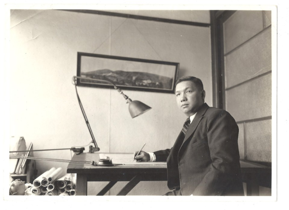 Poy Gum Lee at the Drafting Table, ca. 1940, Photograph, Courtesy of the Poy Gum Lee Archive