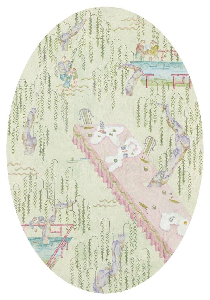 YEN Yu-Ting 顏妤庭 Gathering under Rain of Willows 柳下會 2015 mineral pigment on paper 紙本設色 100 x 69 cm Private collection 私人收藏