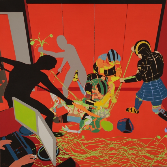 Contest, 2016. Acrylic on linen, 39 3/8 x 39 3/8 in. (100 x 100 cm)