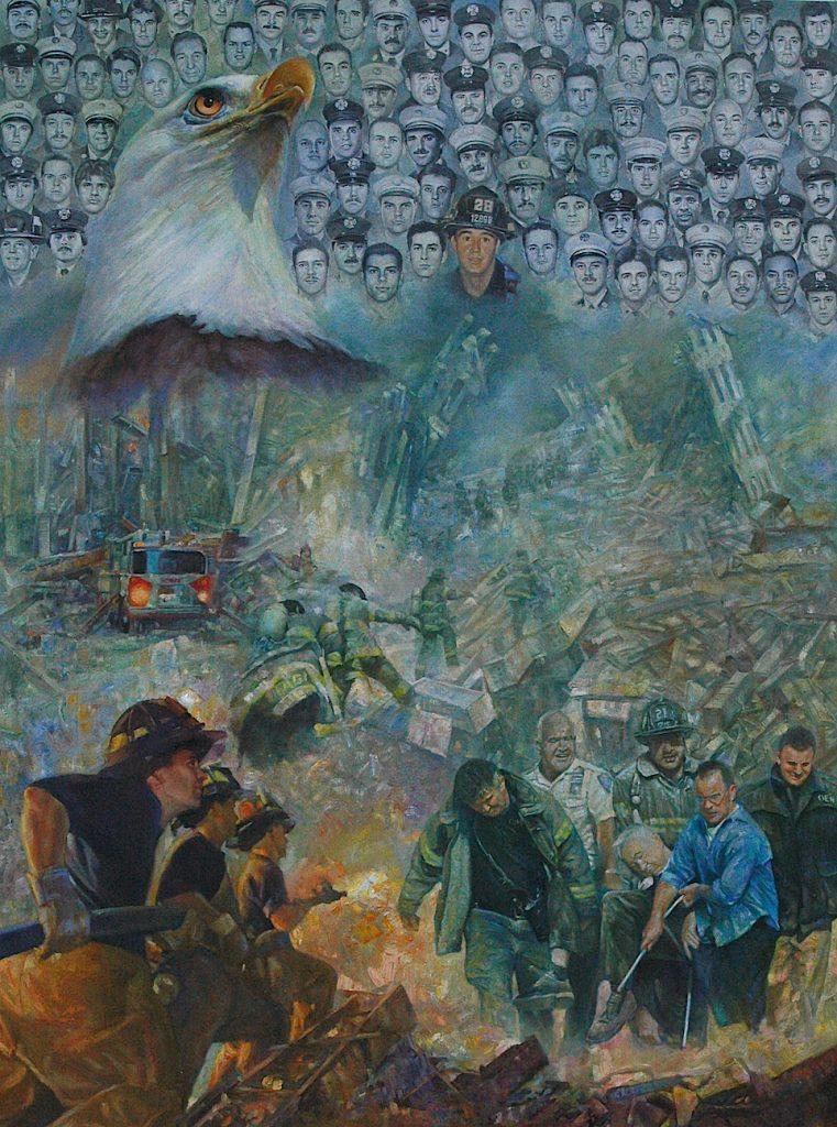爭分奪秒-全力搶救 (Race against the clock—rescuing), 2015. Oil on canvas, 5' x 7'