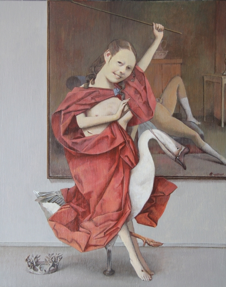 Wei Dong, Goose Rider, 2016. Oil and acrylic on canvas, 10 x 16 inches. Couertesy of the artist and Klein Sun Gallery