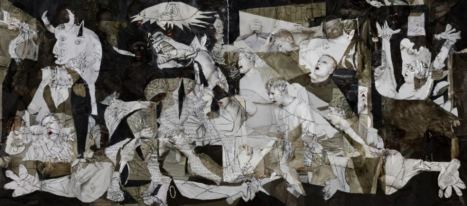 Liu Bolin, 'Guernica,' 2016. Archival pigment print 43 1/2 x 98 3/8 inches. Courtesy of the artist and Klein Sun Gallery.