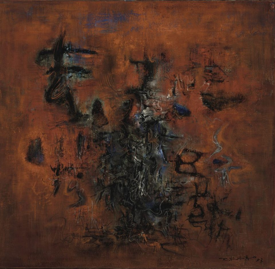 'Rouge, bleu, noir' (Red, blue, black), 1957. Oil on canvas, 29 1⁄2 × 32 in. (74.9 × 81.3 cm). Harvard Art Museums/Fogg Museum, Gift of Benjamin and Lilian Hertzberg, 2007.29. Imaging Department © President and Fellows of Harvard College. Courtesy of Asia Society