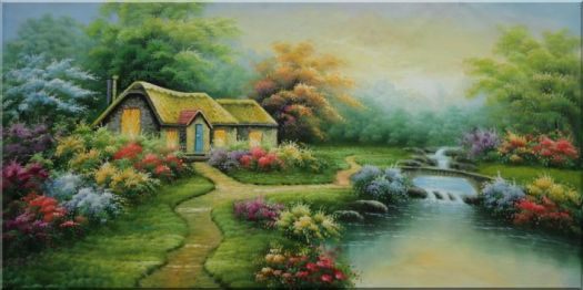 Sweet Home In The Colorful Flowers Oil Painting Landscape Tree Spring Naturalism 24 X 48 Inches