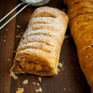 German apple strudel made with puff pastry