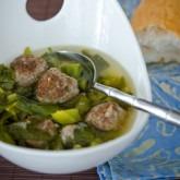 kale-meatball soup