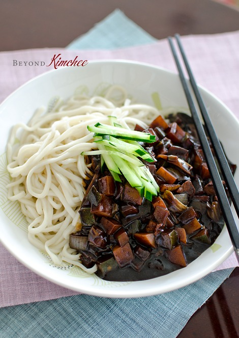 Jjajangmyun is made with black bean paste