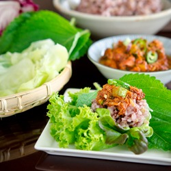 Ssambap is a Korean lettuce wrap