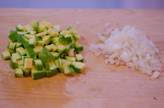 Chop your zucchini and onion small