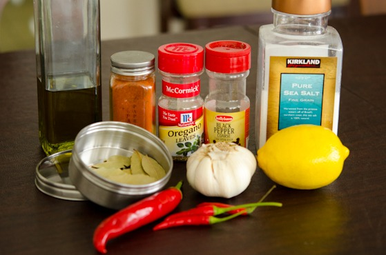Ingredients for marinading peri-peri chicken
