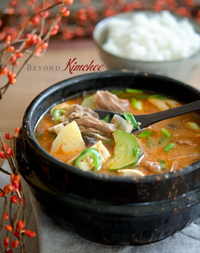 Authentic Korean doenjang jjigae made with beef in a stone pot