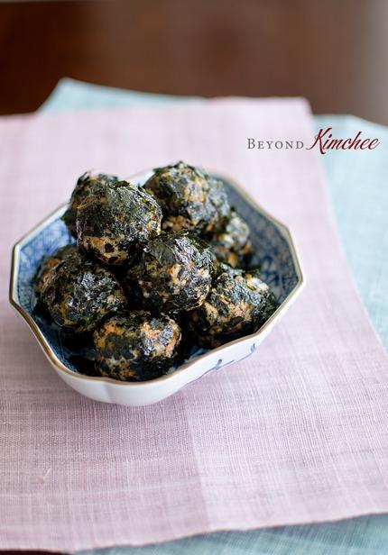 Kimchi tuna rice balls are coated with crumbled seaweed