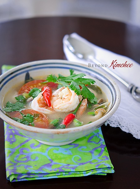 The prawn stock is made from scratch to make this authentic Tom Yum Goong