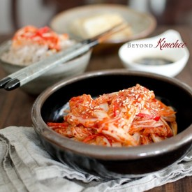 Quick kimchi made in 30-minutes and served with rice.