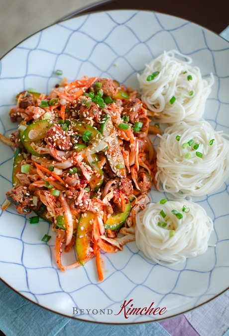 Spicy Korean Snail Salad is served with cold vermicelli noodles