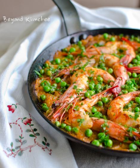 Kimchi Chorizo Shrimp Paella-