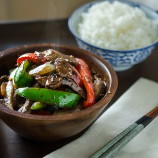 Beef and Peppers Stir-fry with black bean sauce