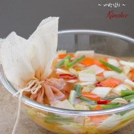 Kimchi seasoning is kept inside of a linen cloth in the nabak kimchi.