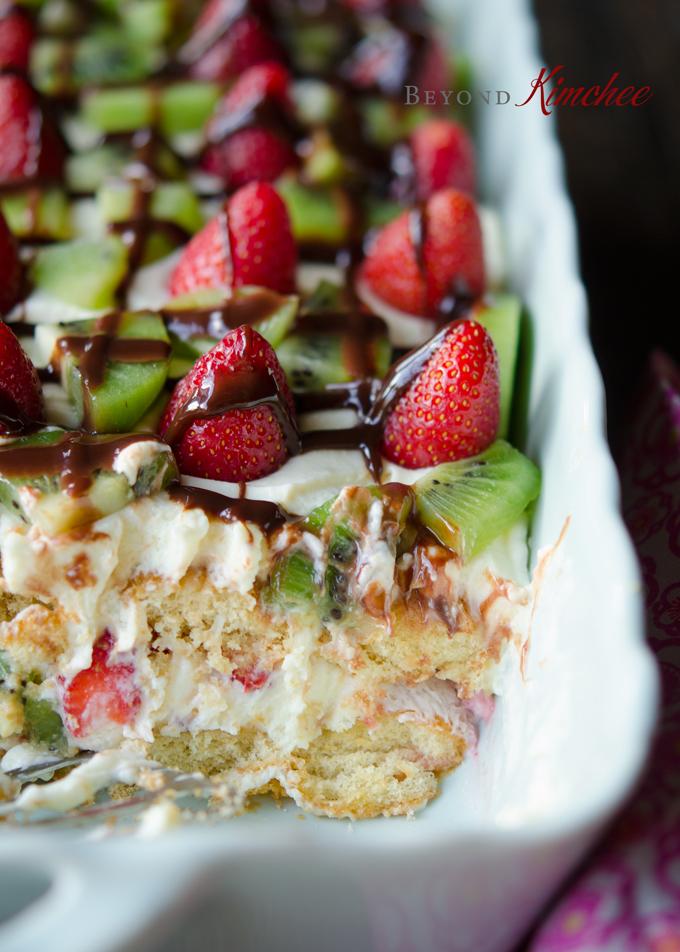 Strawberry Kiwi Tiramisu, without alcohol