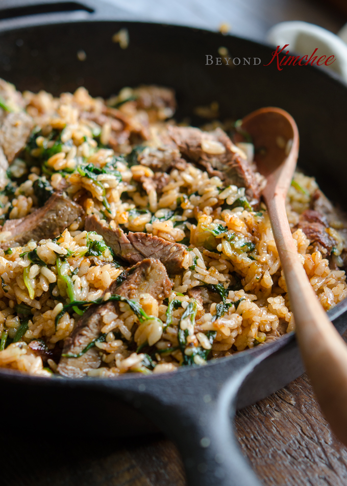 Steak and Spinach Bibimbap makes a great one skillet dinner.
