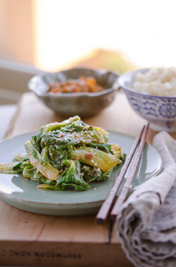 Korean cabbage tossed with Korean Soybean Paste serve as a vegan dish or side dish