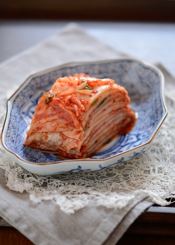 Cabbage Kimchi is beautifully sliced and presented