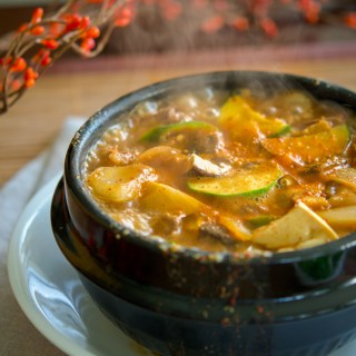 Beef Doenjang Jjigae in a Korean stone pot