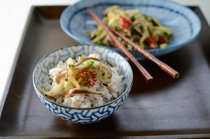 Serve chayote mushroom stir-fry as a side dish with rice.
