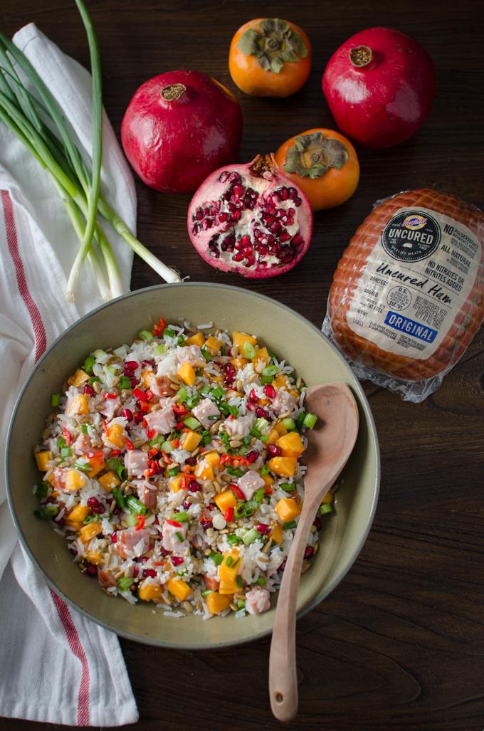 Festive Asian Style Ham and Rice Salad