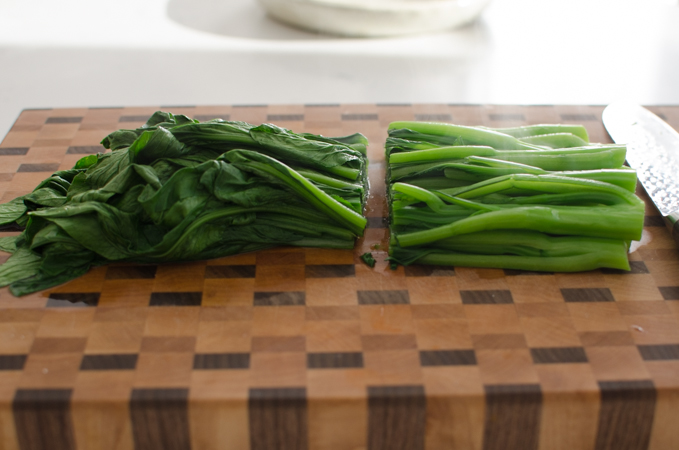 If choy sum is too long, cut in half lengthwise for easier serving.