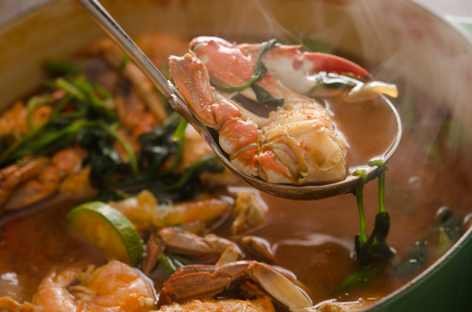 Korean Crab Stew is flavored with Korean pastes.