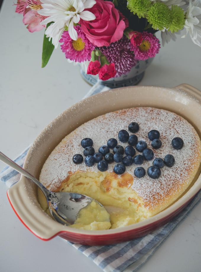 Lemon pudding cake is a feather like light dessert