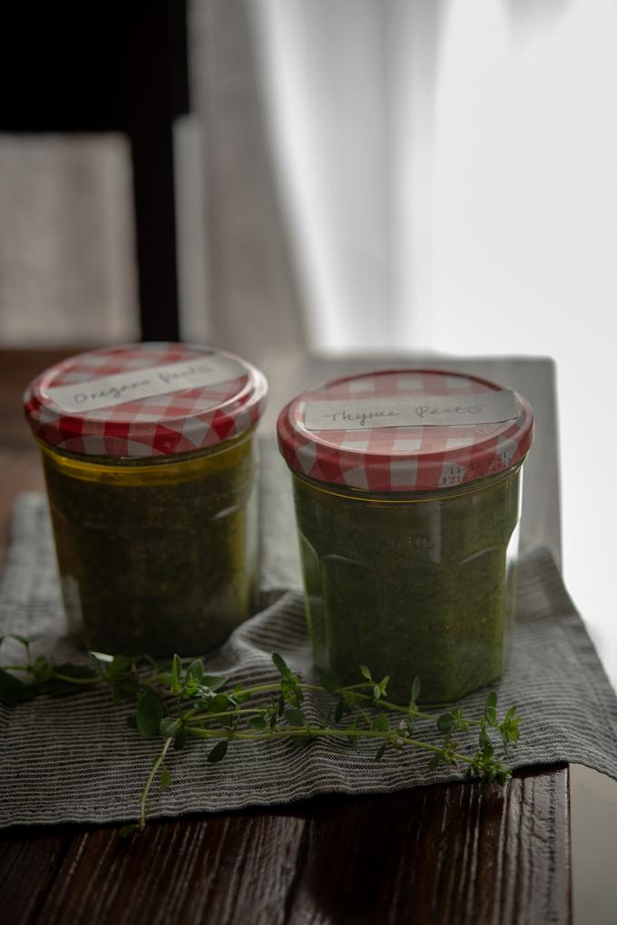 Oregano Pesto & Thyme Pesto are stored in glass jars