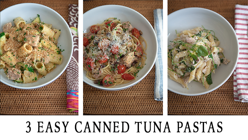 3 easy pastas recipes using canned tuna and a variety of pastas.
