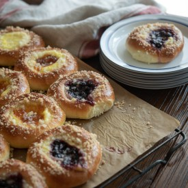 Czech Kolaches are filled with cottage cheese and jam