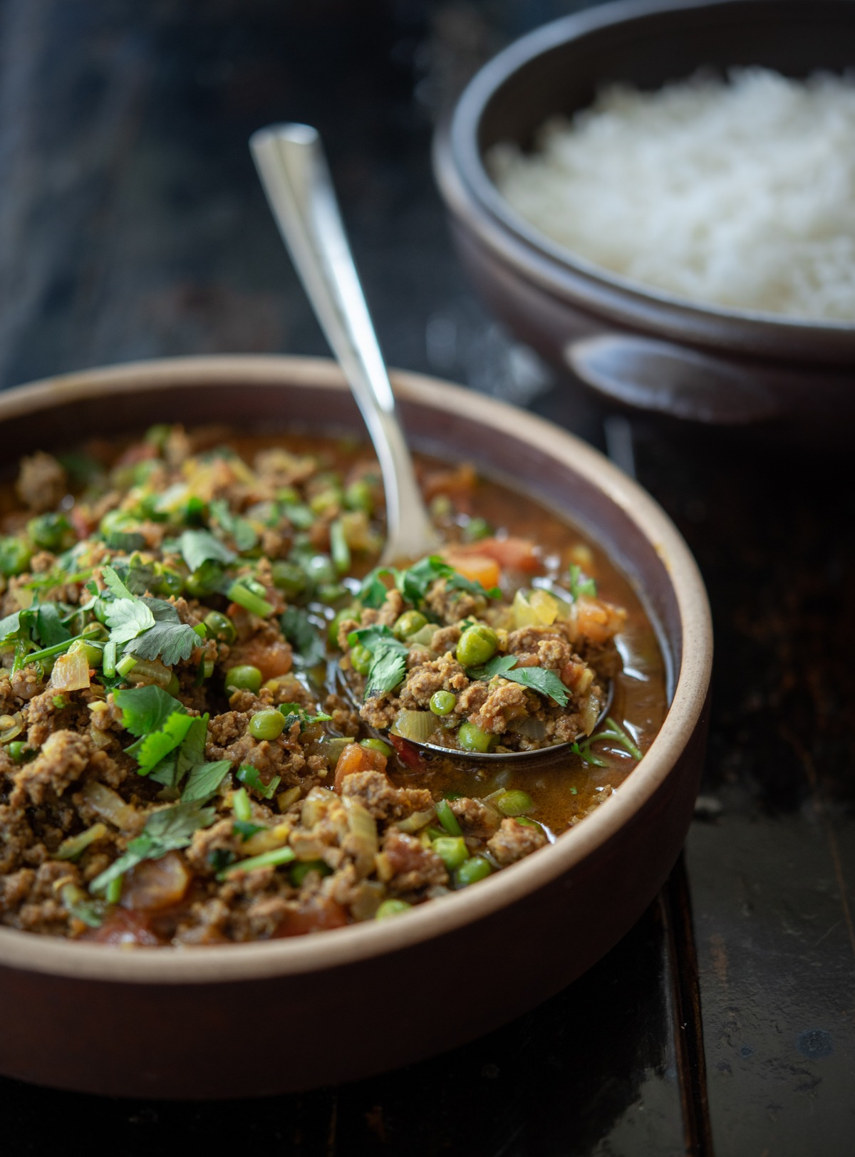 Serve this tomato based ground beef curry over rice for an easy dinner
