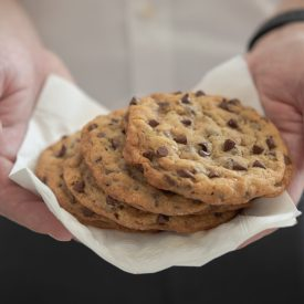 These toffee chocolate chip cookies are crisp and soft cookies