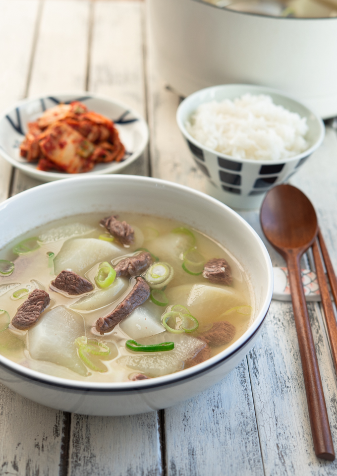 Korean beef radish soup made with Korean radish