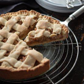 Polish apple pie (Szarlotka) with lattice topped crust