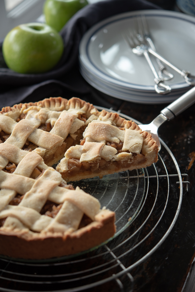 Szarlotka is a popular Polish apple tart with cookie-like dough that's woven into a lattice