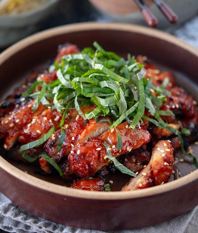 Korean chicken bulgogi, dak bulgogi, made with gochujang
