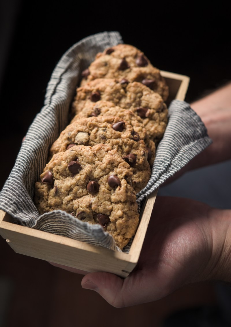 Chocolate wheat germ cookies are presented in a cloth lined container