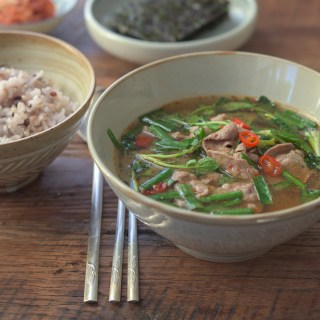 Kroean Soybean Paste Stew with Watercress, Chives, and Beef