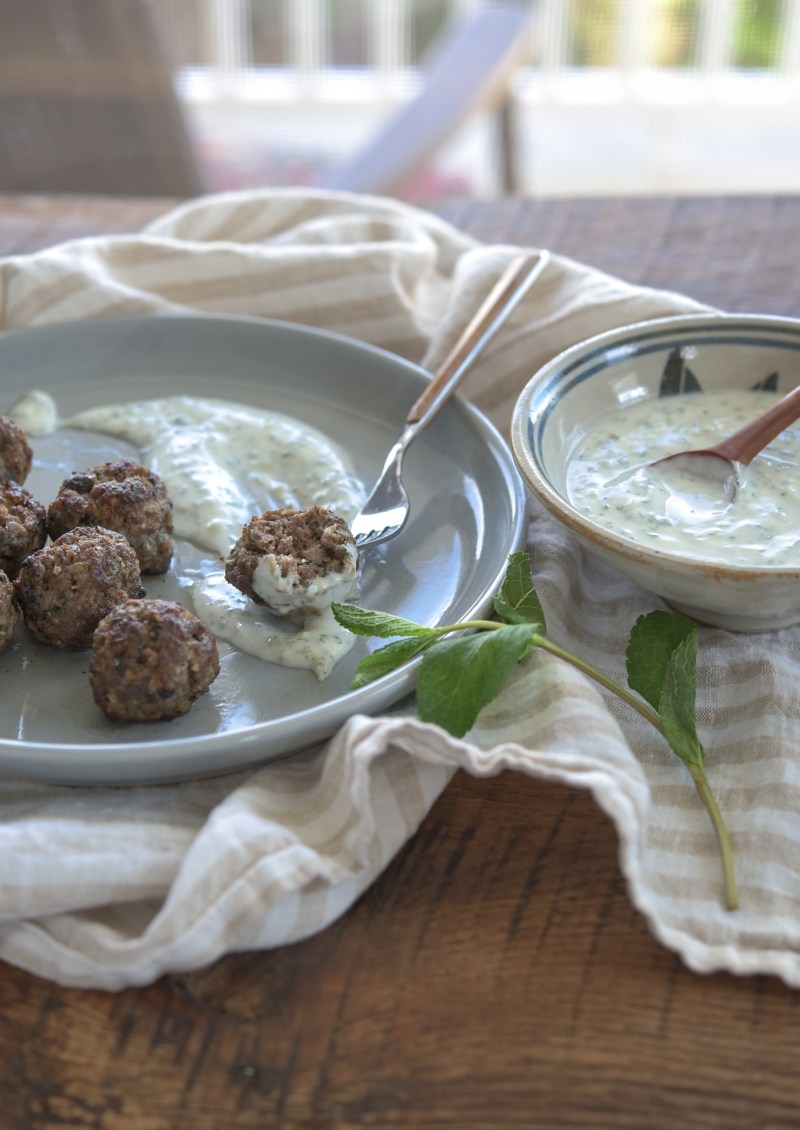 These middle eastern meatballs are flavored with garlic, mint, parsley, and spices.