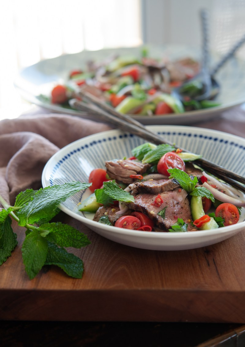 It's best to serve Thai beef salad right away after you tossed.