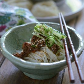 Korean noodles with beef sauce and cucumber