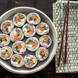 Kimbap (Gimbap) is Korean seaweed rice rolls