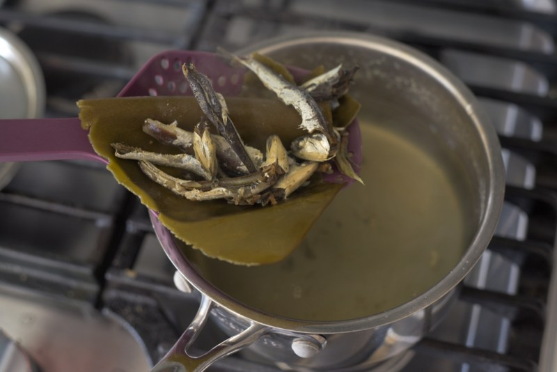 Dried anchovies and sea kelp are simmered to make a stock.