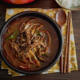 Yukgaejang is spicy Korean beef soup made with various vegetables